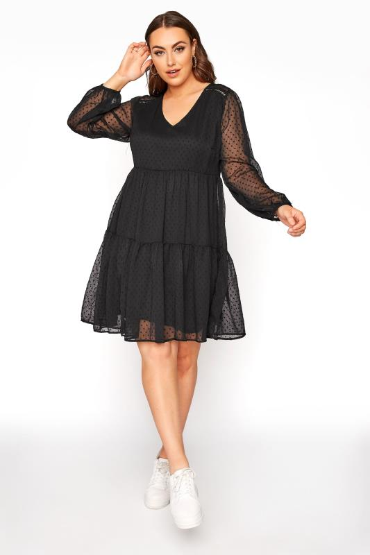 Plus Size  LIMITED COLLECTION Black Dobby Mesh Tiered Dress