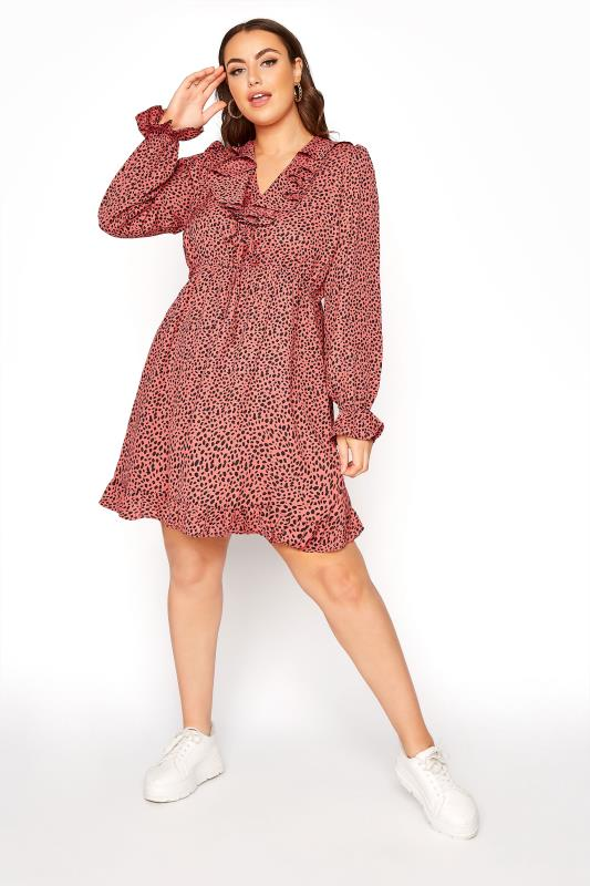 YOURS LONDON Pink Dalmatian Tiered Tunic Dress