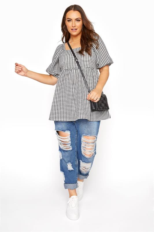 LIMITED COLLECTION Black Gingham Milkmaid Top_B.jpg