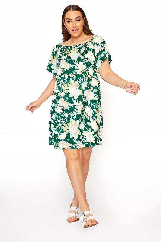 Plus Size  Forest Green Floral Gypsy Tunic