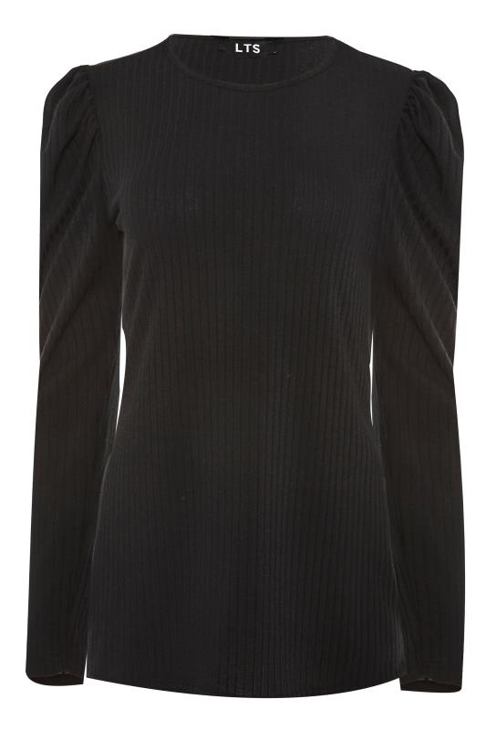 LTS Black Ribbed Puff Sleeve Top_F.jpg