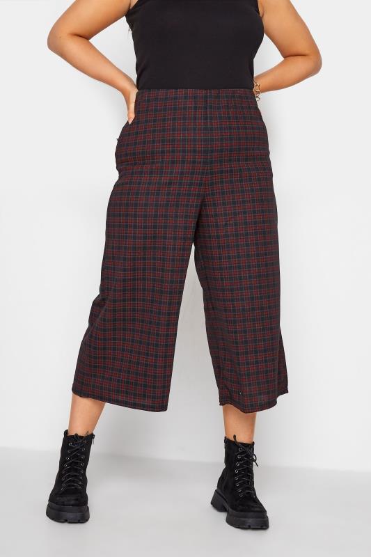 Plus Size  Black & Burgundy Check Culotte