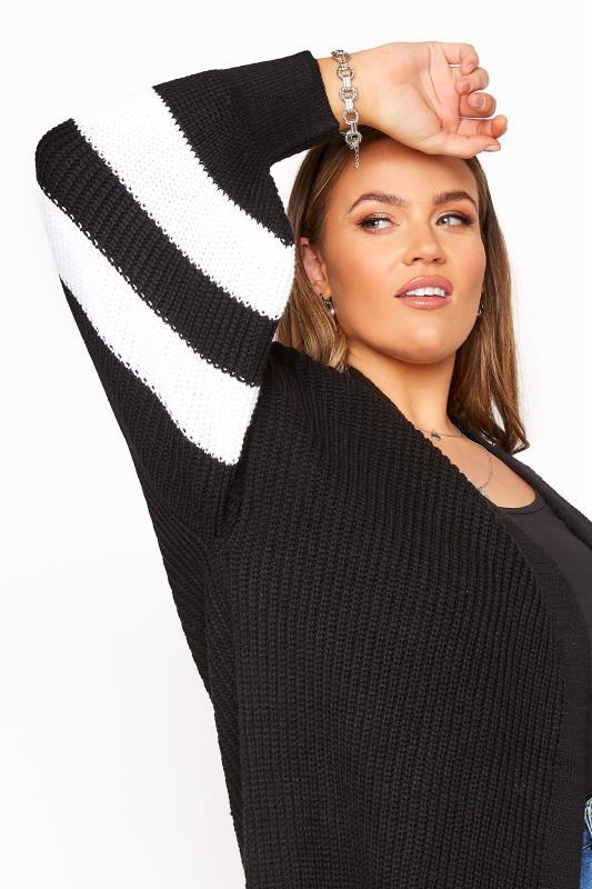 Black Varsity Stripes Knitted Cardigan_D.jpg
