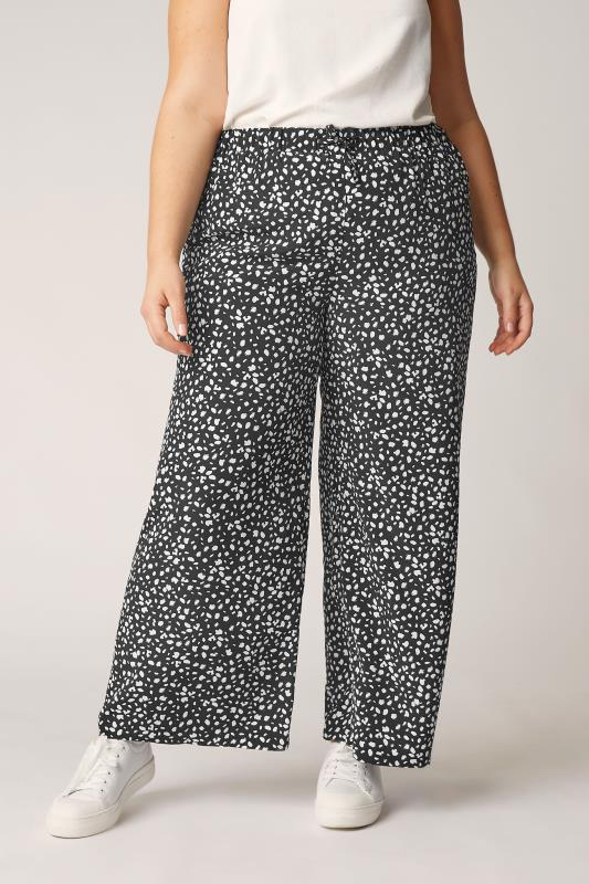 THE LIMITED EDIT Black Speckled Print Wide Leg Trousers_B.jpg