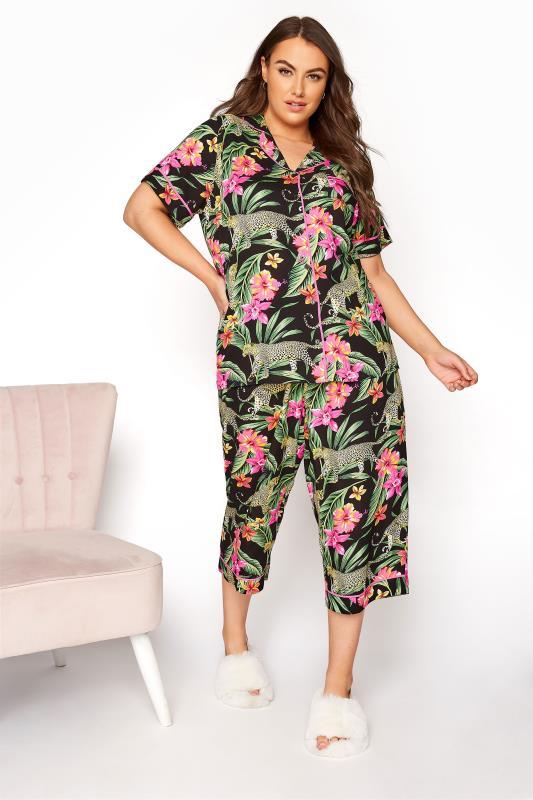 Tallas Grandes Black Woven Tropical Leopard Crop Pyjama Set