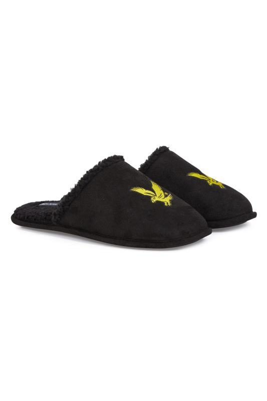 Men's  LYLE & SCOTT Black Teddy Borg Trim Slippers