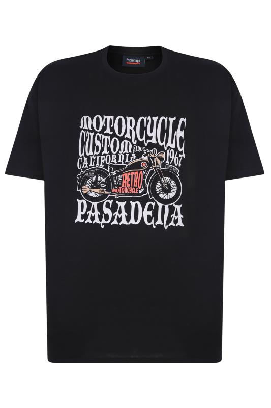 Plus Size Casual / Every Day ESPIONAGE Black Motorcycle Graphic Print T-Shirt