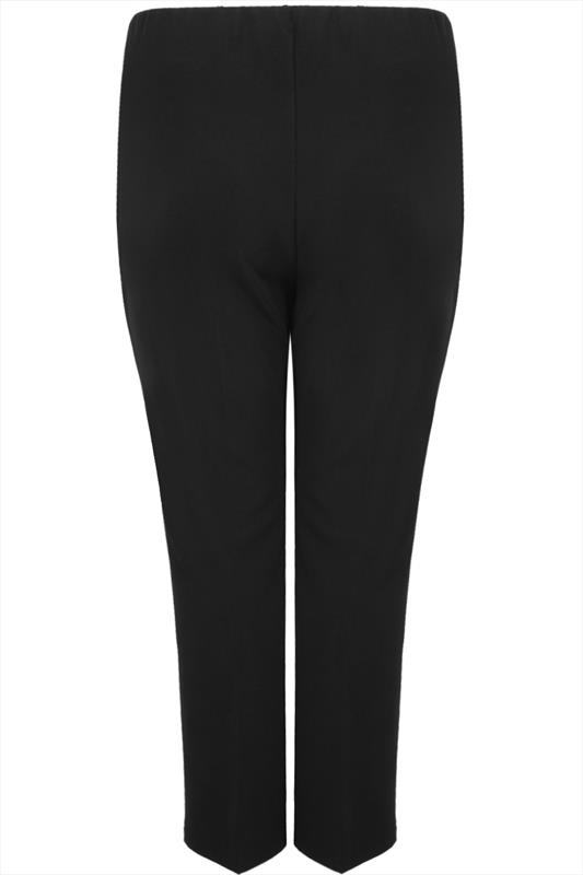 Bestseller Black Pull On Ribbed Bootcut Trousers - PETITE