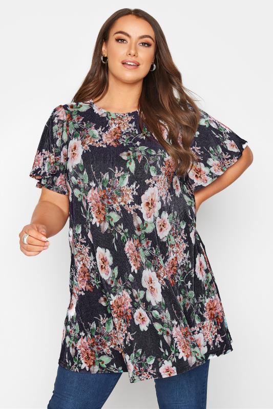 Plus Size  Navy Floral Print Short Sleeve Top