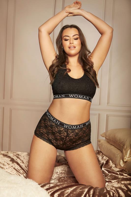 Black Lace Lounge Woman Bralette Set