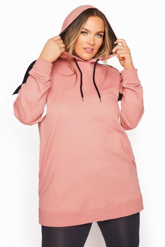 Hoodie im Colour Block Design, Pink & Schwarz