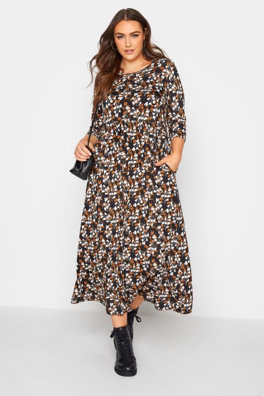 Black Floral Print Pocket Midaxi Dress_A.jpg