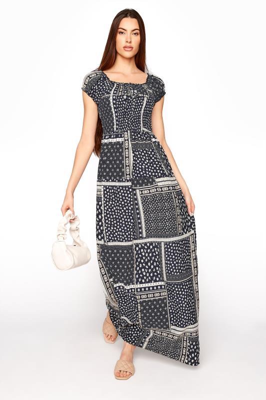 LTS Navy Shirred Bardot Maxi Dress_B.jpg
