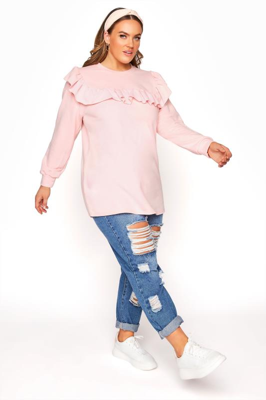 LIMITED COLLECTION Washed Pink Frill Sweatshirt_B.jpg