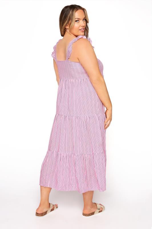 YOURS LONDON Pink Stripe Frill Tiered Midi Dress_C.jpg