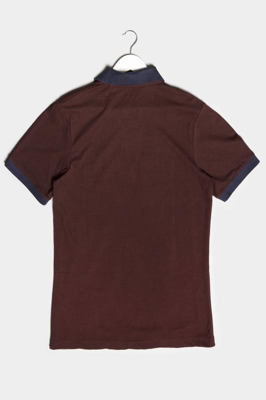 BadRhino Burgundy & Navy Contrast Polo Shirt