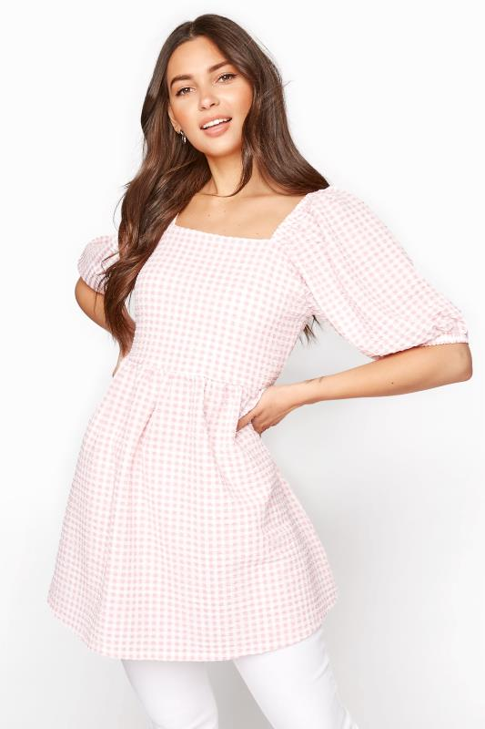 Tall  LTS Pink Gingham Square Neck Milkmaid Top