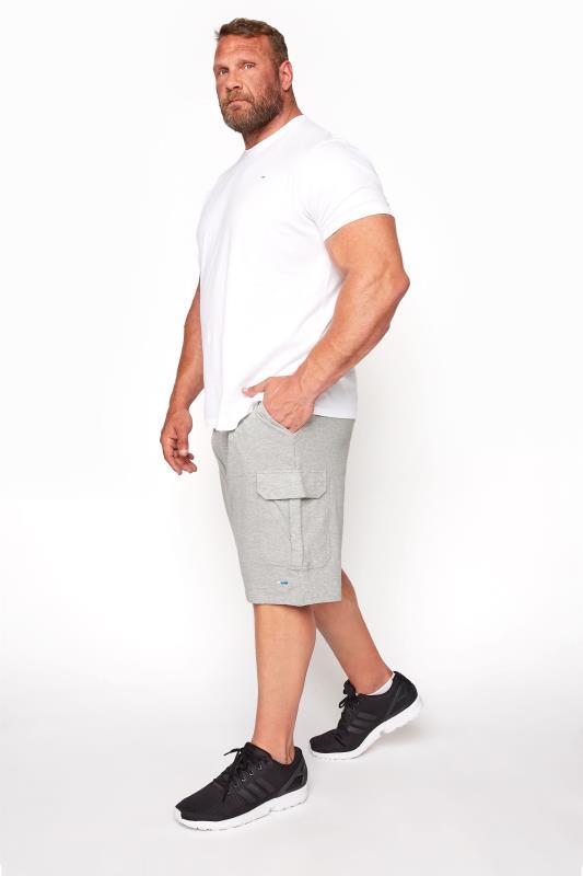 BadRhino Grey Marl Essential Cargo Jogger Shorts