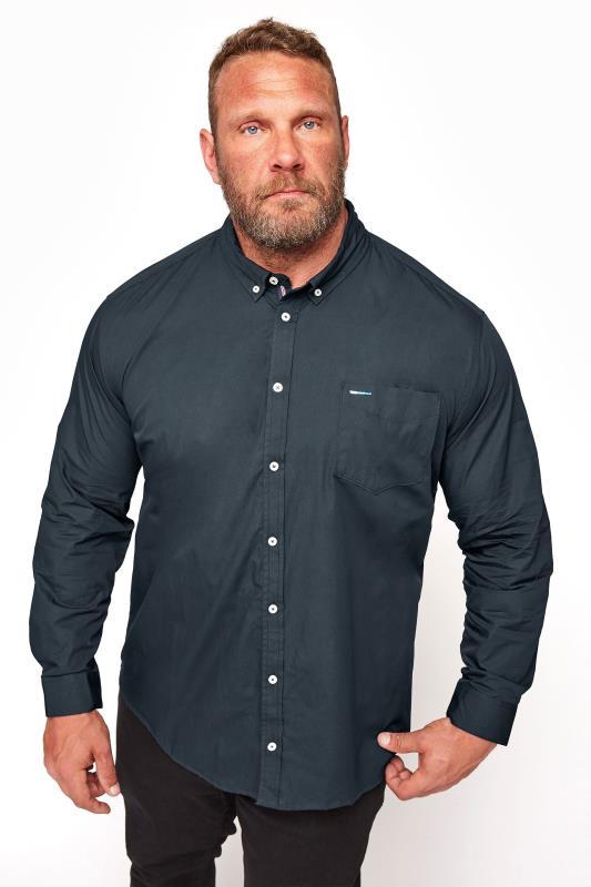 Tallas Grandes BadRhino Navy Cotton Poplin Long Sleeve Shirt