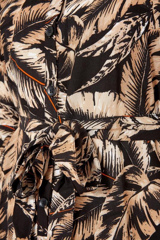 Black Leaf Print Shirt Dress_S.jpg