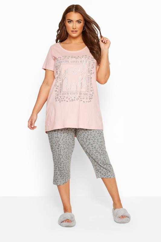 Plus Size Pyjamas Pink Animal Print Crop Pyjama Set