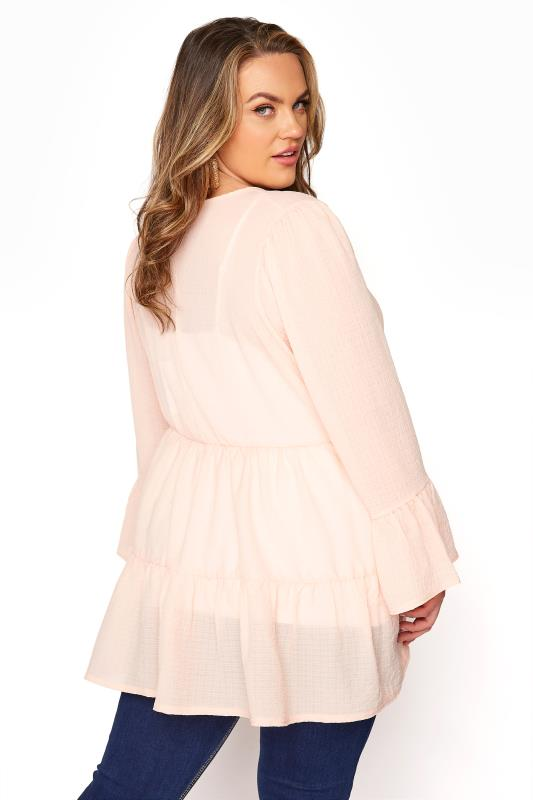 YOURS LONDON Natural Pink Ruffle Sleeve Tiered Smock Top_C.jpg