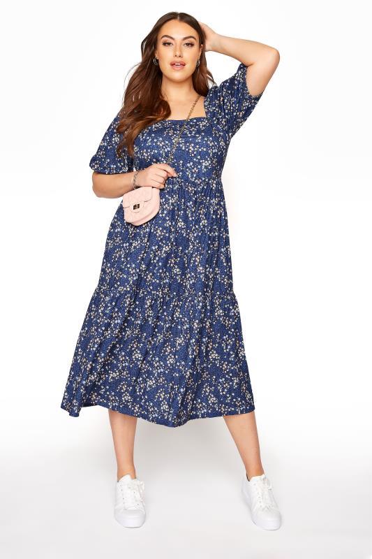 Blue Ditsy Print Square Neck Smock Midaxi Dress_B.jpg