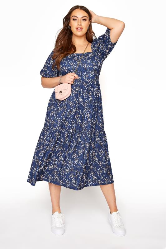Blue Ditsy Print Square Neck Smock Midaxi Dress