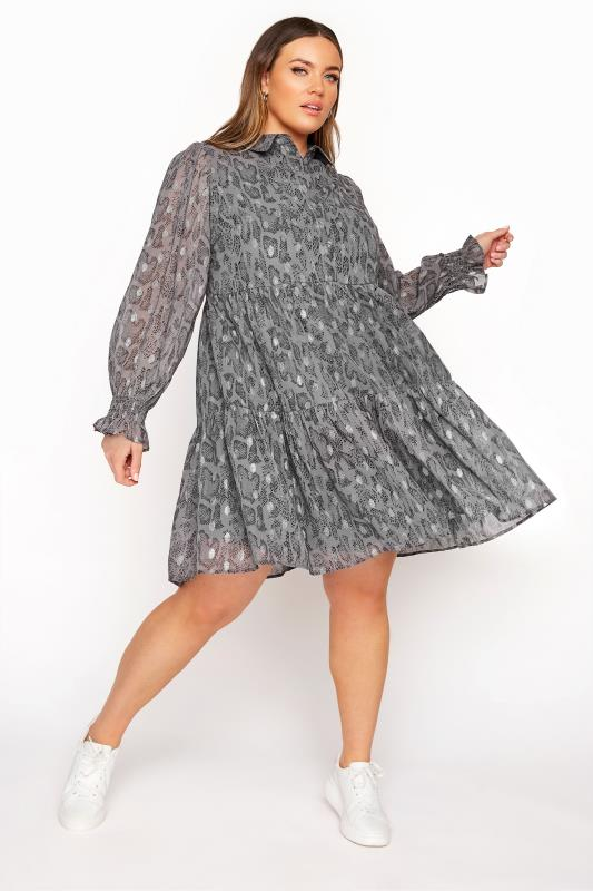 Plus Size  LIMITED COLLECTION Grey Foil Snake Tiered Shirt Dress