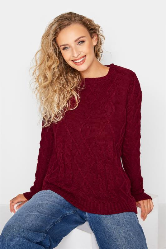 Tall  LTS Berry Red Cable Knit Jumper