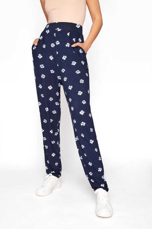 LTS Blue Floral Double Pleat Jersey Harem Trousers_B.jpg