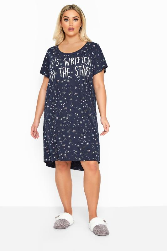 Plus-Größen Nightdresses & Chemises Navy Glitter Written In The Stars Slogan Nightdress