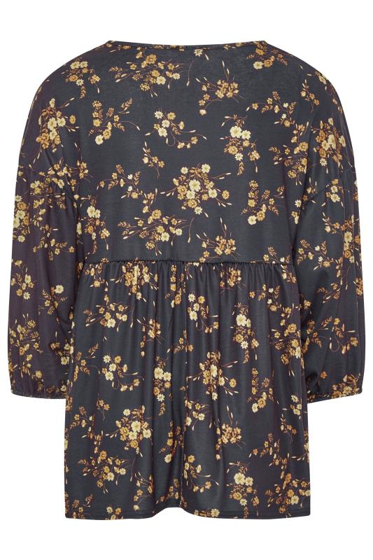 LIMITED COLLECTION Black Mustard Floral Balloon Sleeve Top