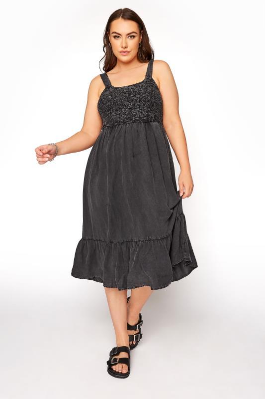 Plus Size  Black Acid Wash Shirred Dress