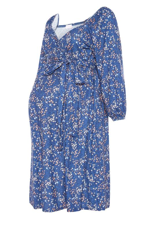 BUMP IT UP MATERNITY Blue Ditsy Wrap Dress_F.jpg