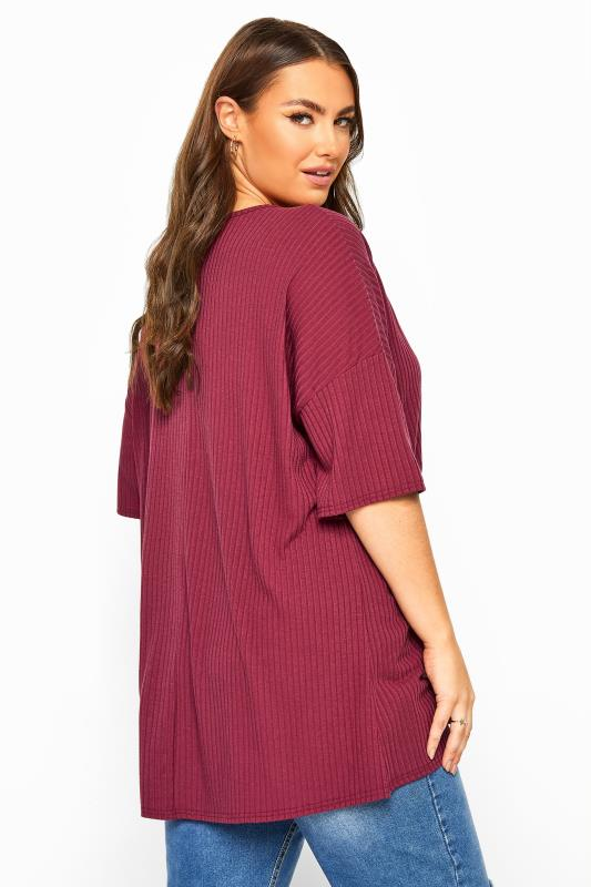 Berry Ribbed Dipped Hem Top