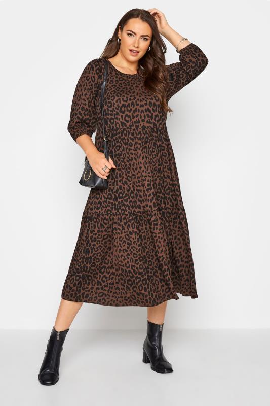 Grande Taille Brown Animal Print Midaxi Dress