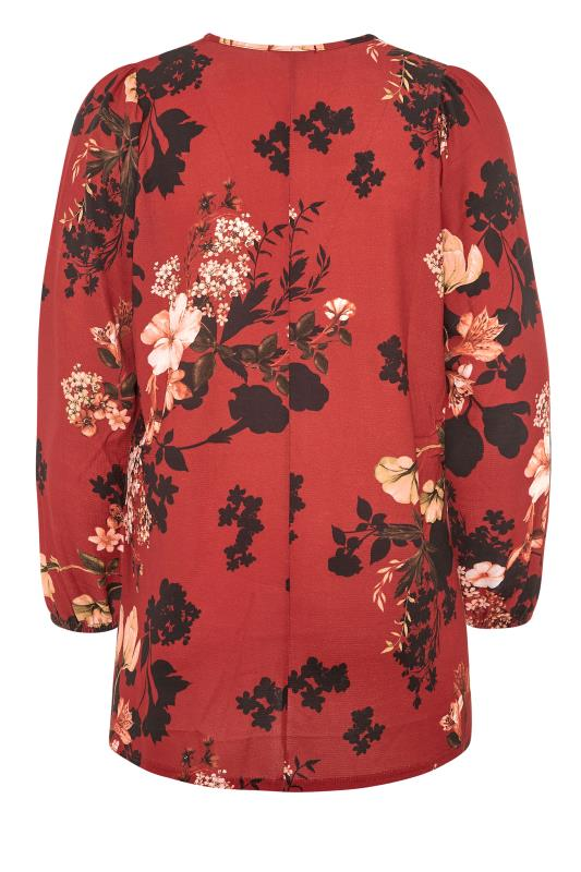 YOURS LONDON Red Floral Balloon Sleeve Blouse_BK.jpg