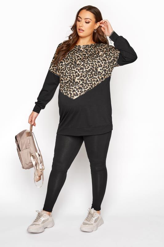 BUMP IT UP MATERNITY Black Leopard Print Colour Block Sweatshirt_B.jpg