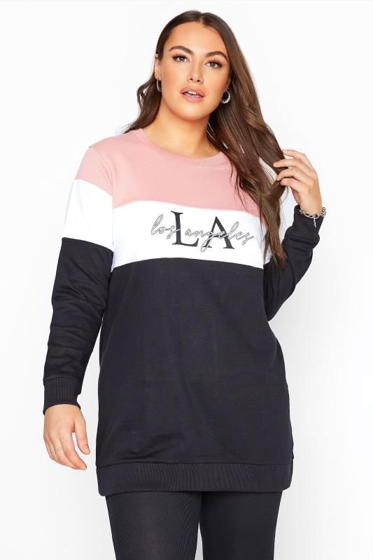 Plus Size  Pink & Black 'LA' Slogan Colourblock Sweatshirt