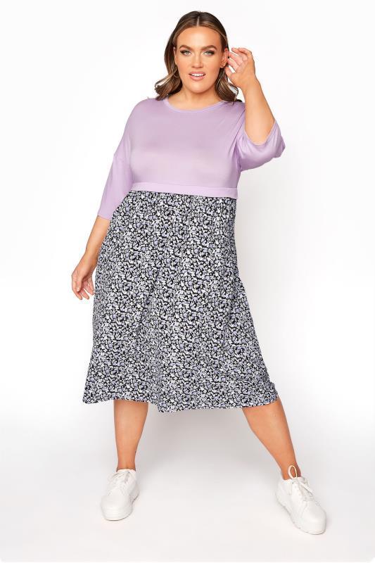 Plus Size  LIMITED COLLECTION Lilac Floral Bubble Crepe Midi Dress