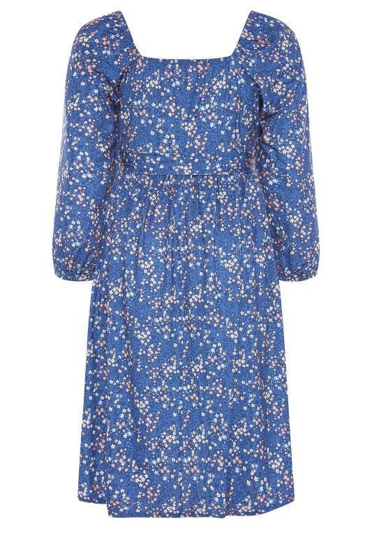 BUMP IT UP MATERNITY Blue Ditsy Wrap Dress_BK.jpg
