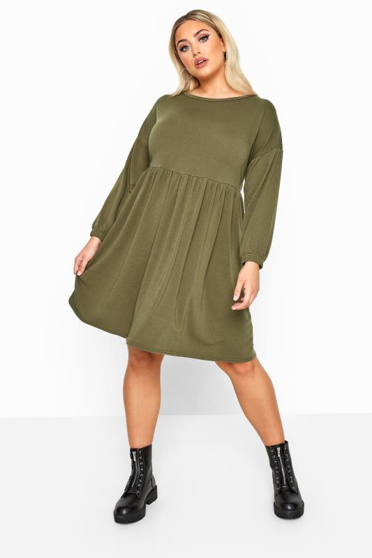 LIMITED COLLECTION Khaki Peplum Sweatshirt Dress
