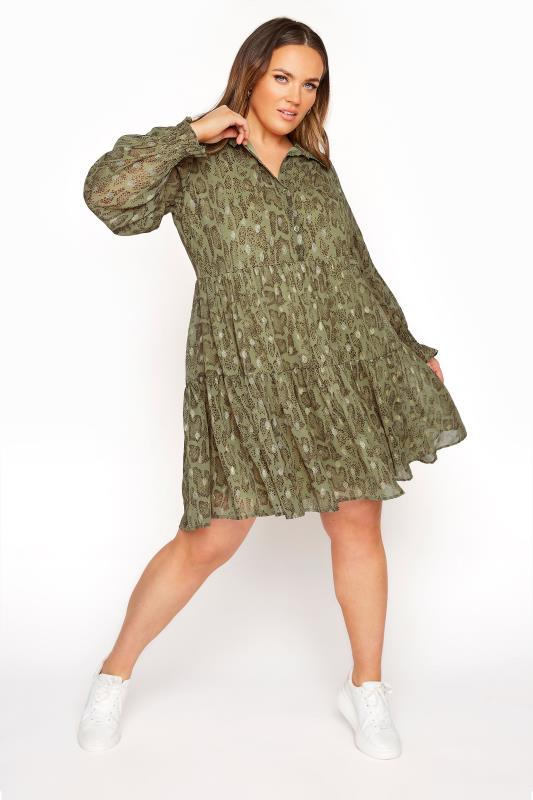 LIMITED COLLECTION Khaki Foil Snake Tiered Shirt Dress