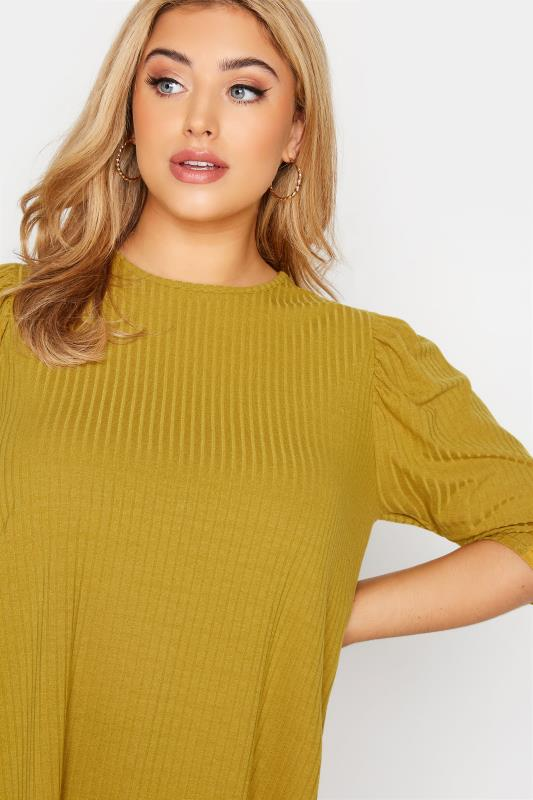 LIMITED COLLECTION Mustard Yellow Puff Sleeve Ribbed Top_D.jpg