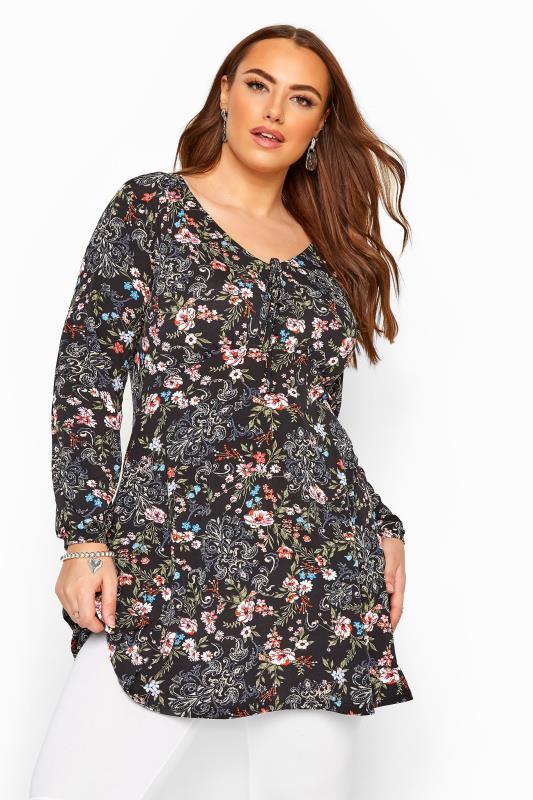 Plus-Größen Tunics Black Floral Paisley Print Tunic