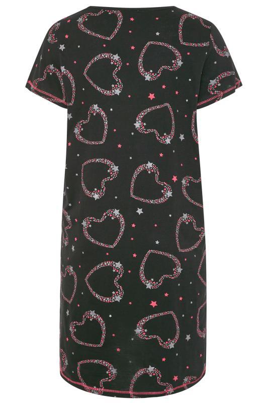 Black Glitter Heart Star Print Nightdress