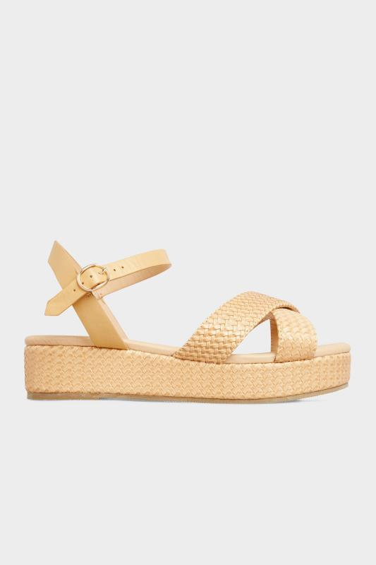 LIMITED COLLECTION Tan Weave Platform Sandal In Extra Wide Fit_A.jpg