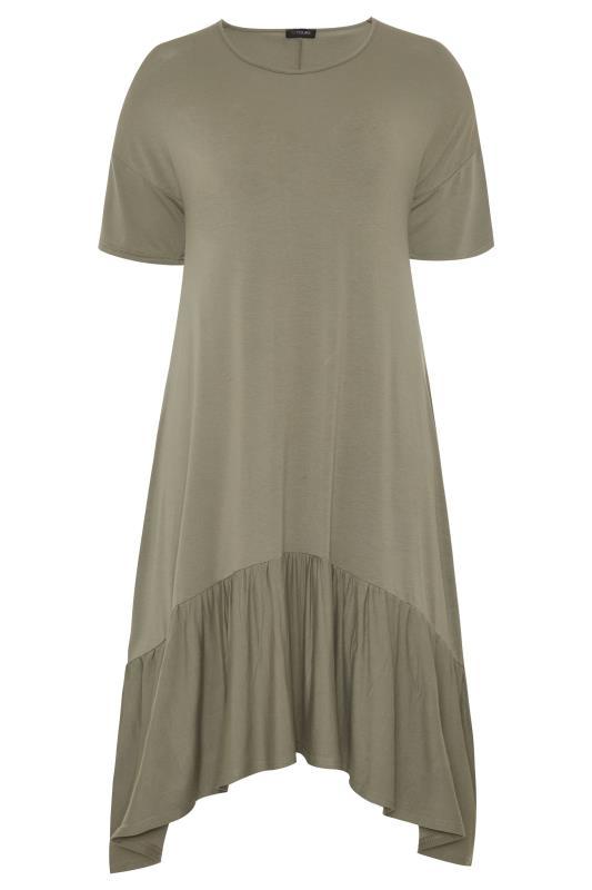 Khaki Frill Hanky Hem Dress