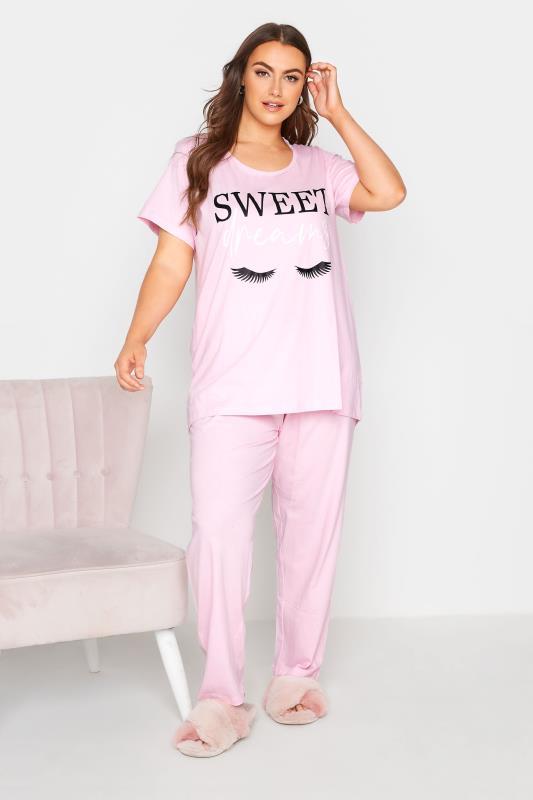 Plus Size  Pink 'SWEET DREAMS' Slogan Pyjama Set